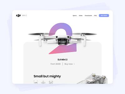 DJI Mini 2 ☁️ gradient dji mini drone dji web design web adobe xd ux design ux ui design ui minimalist interface
