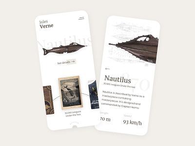 Jules Verne's machines nautilus brown jules verne mobile ios app adobe xd ux design ux ui design ui minimalist interface
