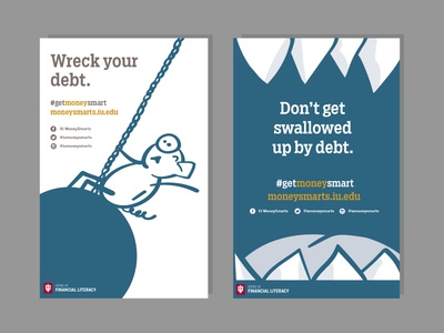 Posters wrecking ball monster pig debt financial literacy illustration posters