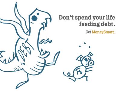 Debt Monsters financial literacy finance pig monster illustration
