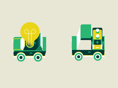 Icons [killed proposal] goran editorial illustration icon gq ecology battery idea green nature electric car