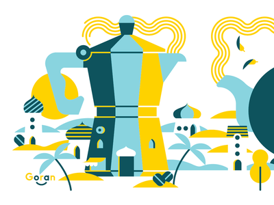 Dilemma: Coffee or Tea? goran illustration mug coffee tea moka arabic aroma english breakfast dilemma