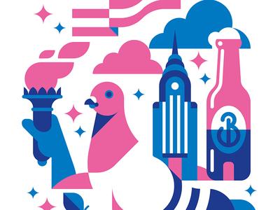 The Big Apple illustration print new york pigeon brooklyn building liberty torch big apple flag stars american