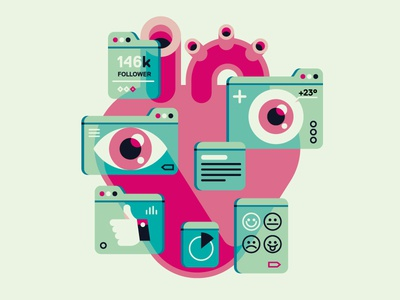 Interfaces interface ui social inner eye hearth data like facebook network feelings