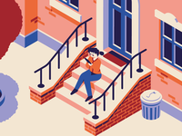 Girl on a stoop