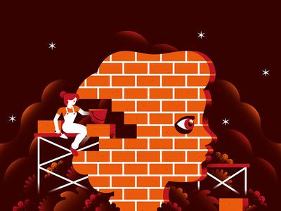 Violence against women brick wall illustration calendar women violence feminism gender equality lgbt bossy