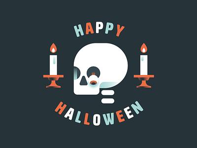Happy Halloween logo illustration marco romano goranfactory spooky scary bones skeleton candle skull halloween