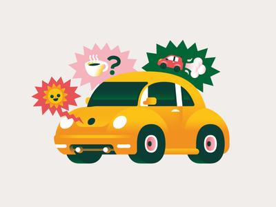 Talking Car roche editorial goranfactory illustration marco romano artificial intelligence car talking emoji volkswagen new beetle