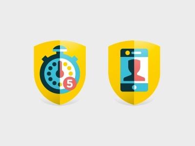 Badges goran badges icon illustration social app game clock facebook marco romano goran factory