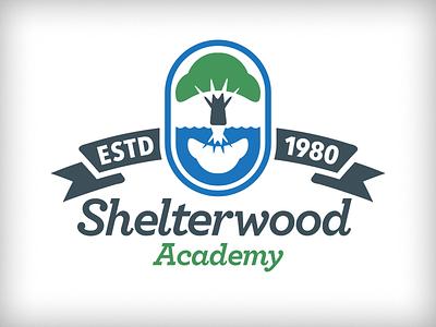 Shelterwood Academy - WIP tree river reflection badge academy oak ribbon