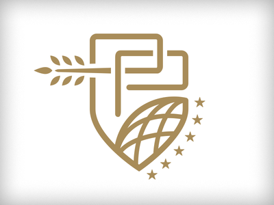WIP Global Rebrand globe olive branch interlinking connection stars badge shield p