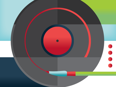 WAM DJ Poster - WIP record dj paintbrush stroke disco modernism