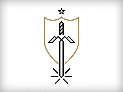 MOI Unused 1 gold line shield logo star sword