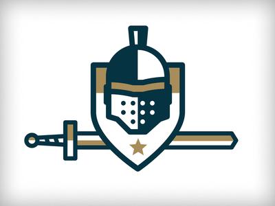 MOI Unused 2 helmet knight gold line shield logo star sword