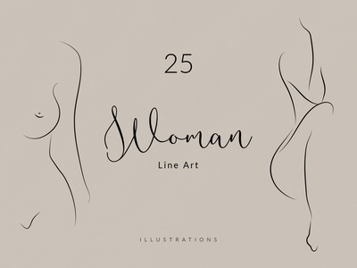 Womans Body. Line Art Collection