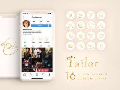 Tailor. Golden Instagram Highlight Covers