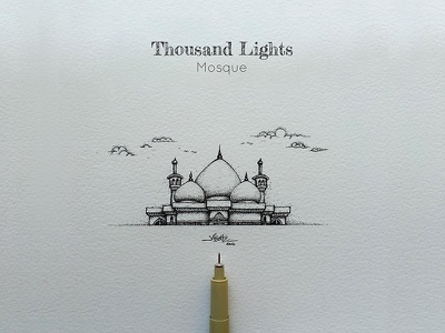 Madras Thousand Lights mosque madras pointillism pointalism penwork paarvaigal thousandlights india ilovemadras dotwork chennai artistsix