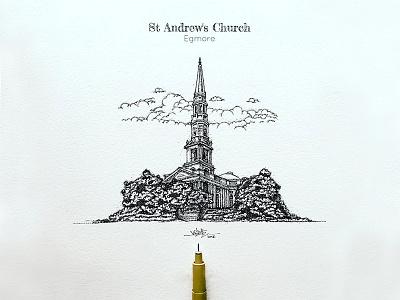 St Andrews Church standrewschruch pointillism pointalism penwork paarvaigal mosque madras india ilovemadras dotwork chennai artistsix