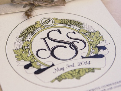 Wedding Logo 2 monogram brewery wedding logo wheat hops leaves rings