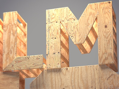 LM wood 3d maya vray letters