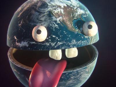 Pale Blue Derp character tongue world earth 3dcoat octane render 3d