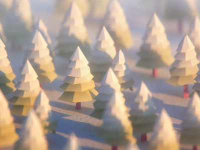 Snowy Trees low poly winter snow 3d octane daily trees