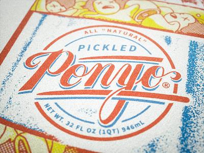 Pickled Ponyo render screenprint mockup logo zine ghibli ponyo