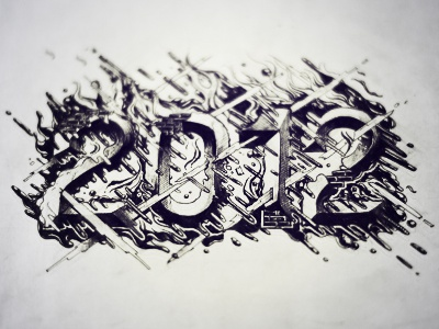 2012 & Process 2012 letters micron paper pen process new years