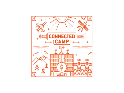 Le Connected Camp Illustration rance toulouse building space mountains city le connected camp iot valley line illustration