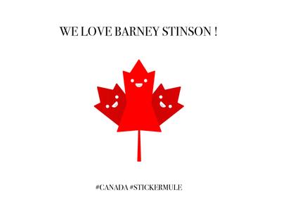 All Canadians love Barney Stinson ! barney stinson leaf sticker stickermule canada