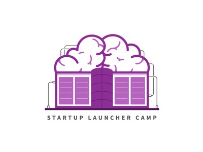 Startup Launcher Camp startup weekend event wire building brain icon logo