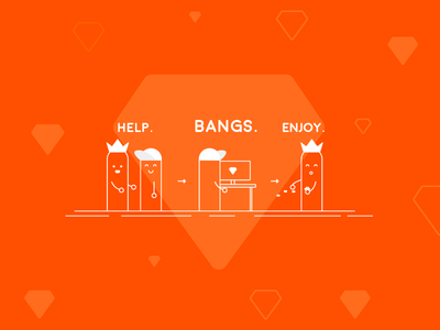 Bangs illustration startup bangs help joy character line