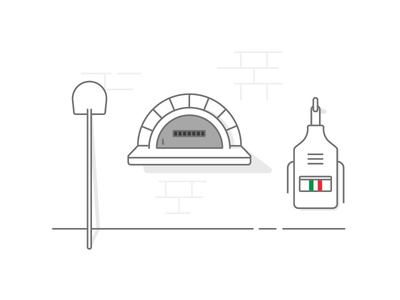 Vinny's Pizza simple illustration italy line pizza