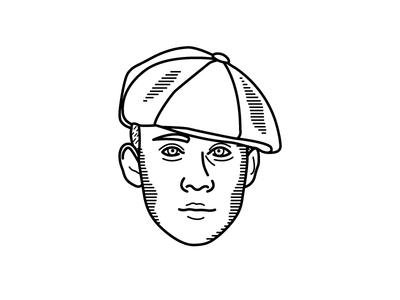 John Shelby Illustration tv show simple portrait white black peaky blinders line illustration