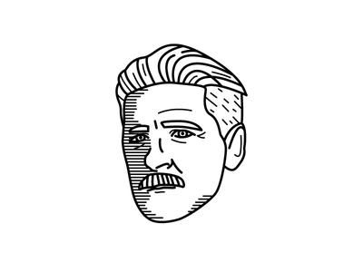 Arthur Shelby Illustration white black simple portrait peaky blinders line illustration