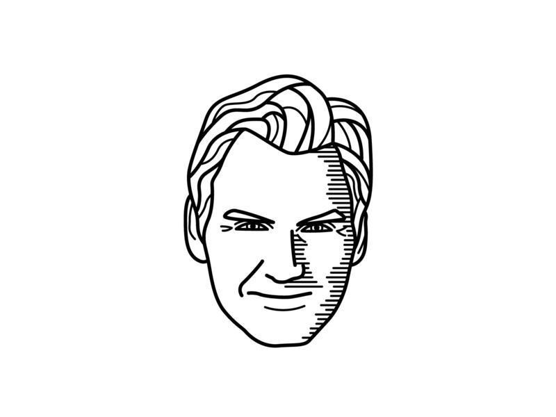 Roger Federer Illustration black and white line portrait sport simple roger federer tennis line illustration