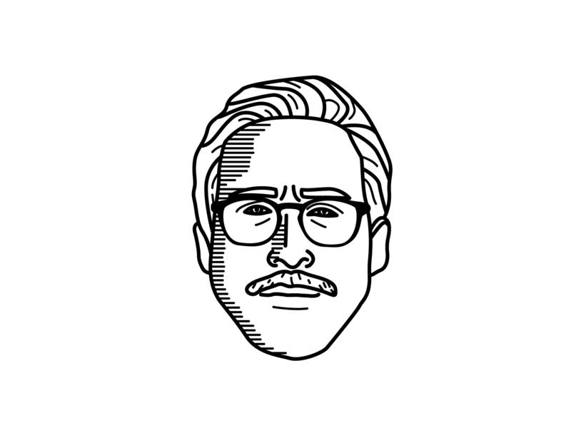 Ryan Gosling Illustration actor portrait glasses black and white line illustration ryan gosling