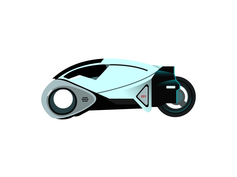 Flynn's Lightcycle from Tron flat light blue bike flynn tron design black simple vector line illustration