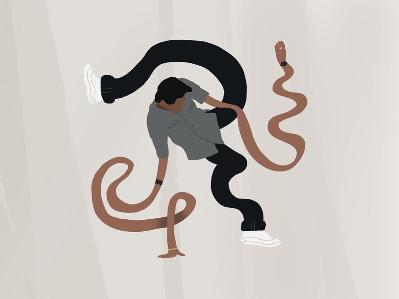 Leo Walk Illustration painting dancer hip-hop dance simple illustration