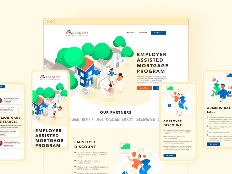 Academy Mortgage branding agency illustration website