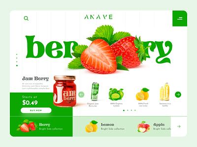 Fresh Store webdesign lemon strawberry berry fruits organics concept web design ux ui website