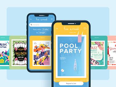 FunAround minimal flat app vector illustration website concept ux local app party app ios app design android app ios app design ui