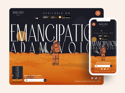 Book Landing Page landing page app vector typography illustration design ui website web design download astronaut mars ebook store online store