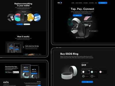 eSOS Ring Landing Page wearables ui landing page website nfc smart device iot smart ring esos