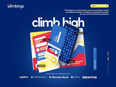 Climbings Hero Section Animation hero animation web animation illustration branding motion graphics animation landing page website