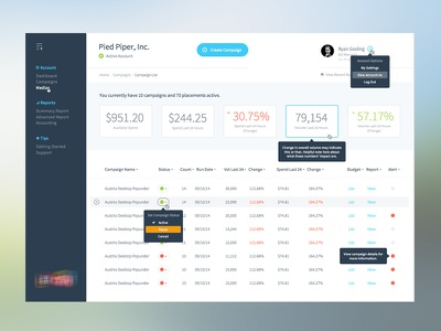 UI Concept ryan gosling modal numbers dashboard concept flat design ui ux