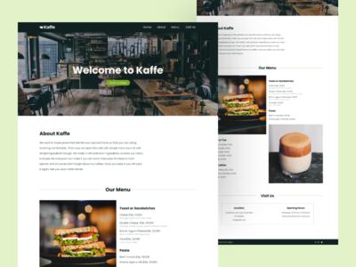 Kaffe - Web Design website web web design figma design figma green white black minimalist minimal landing page design landing page one page drink food restaurant cafe toast coffee