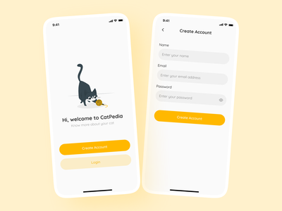 Sign Up Screen signup animal cat mobile app design mobile design app mobile minimal illustration clean ux design ux ui design ui figma create account sign up day001 dailyuichallenge dailyui