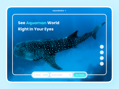 Aquaworld Landing Page - Aquarium minimalist hero simple holiday amusement park sea aqua fish ux design ux ui design ui clean minimal figma web design web landing page