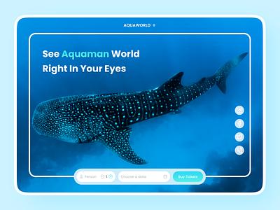 Aquaworld Landing Page - Aquarium minimalist hero simple holiday amusement park sea aqua fish ux design ux ui design ui clean minimal figma web design web landing page